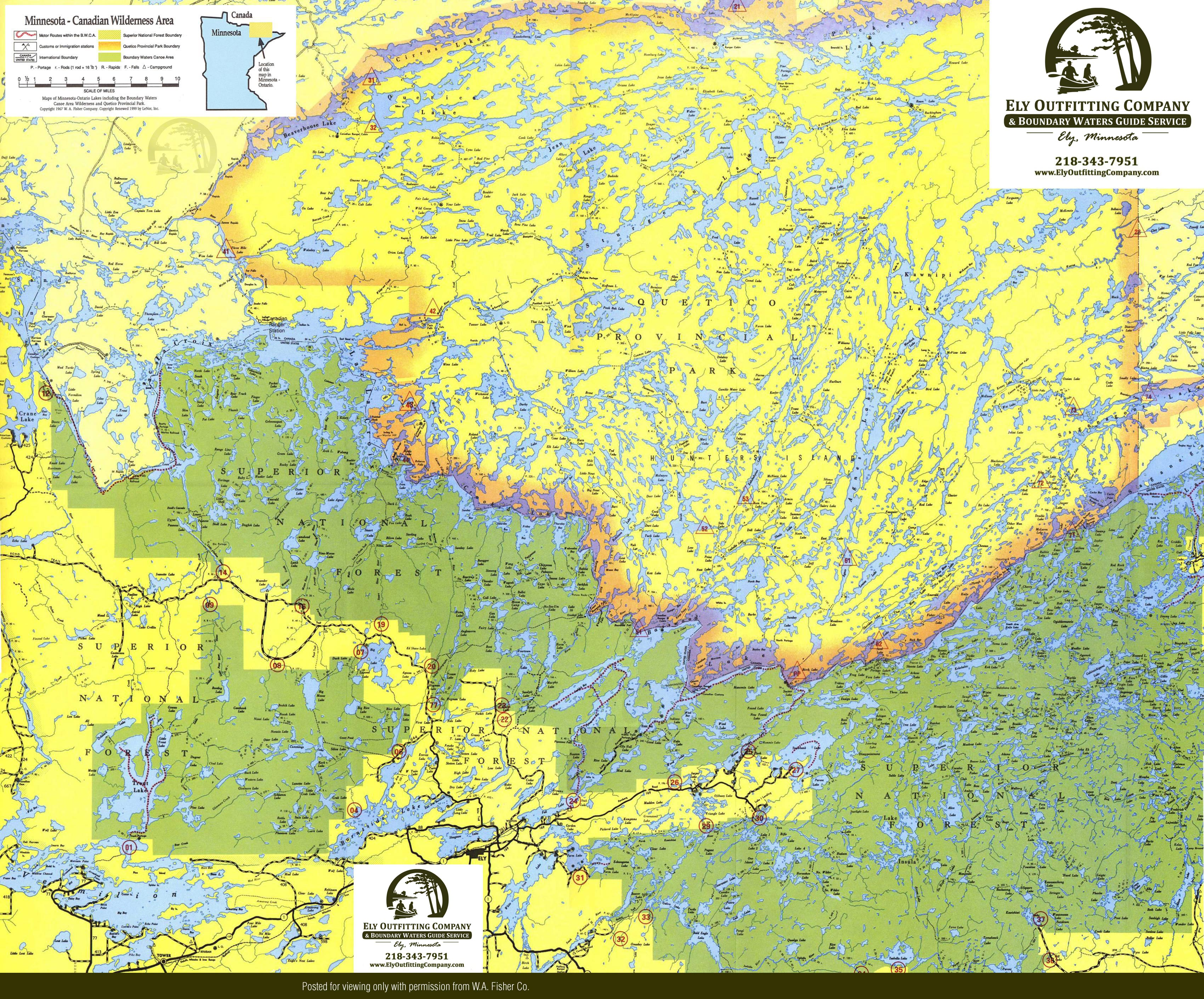 Boundary Waters Canoe Area Map BWCA Route Planning Map - Mn lake maps free