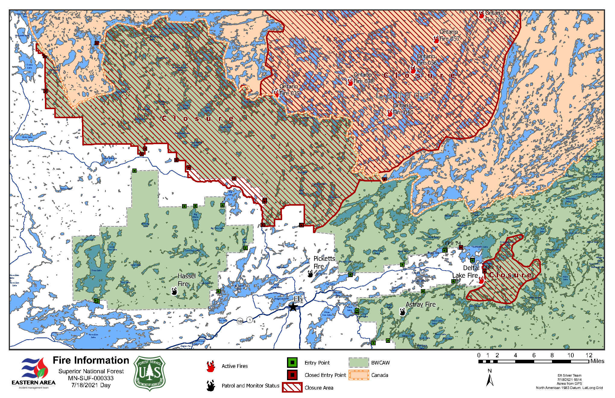 Map of BWCAW Closure Areas Due to Wildfires